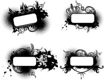 Four Black And White Ornate Banners. Stock Images