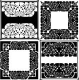 Four Black And White  Ornate Quads. Stock Image