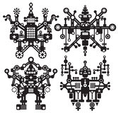 Four black and white robots. Royalty Free Stock Image