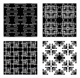 Four Black and White Vector Patterns Stock Photos