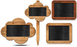 Four Blackboards Isolated on White Royalty Free Stock Photography