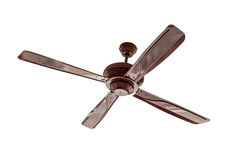 Four blades brown Ceiling fan isolated Stock Photo