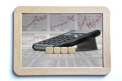Four blank cubes on a board Stock Photography