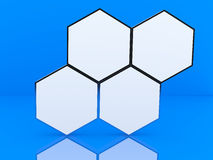 Four blank hexagon box display Stock Photography