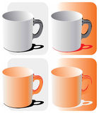 Four blank mugs  Stock Photo