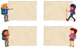 Four blank papers with hikers. Illustration Stock Photo