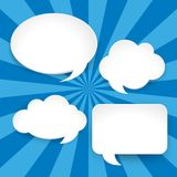 Four blank speech bubbles on blue background. Illustration vector illustration
