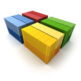Four blocks of cargo containers Royalty Free Stock Photos