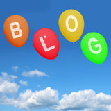 Four Blog Balloons Show Blogging and Bloggers Online Stock Images