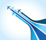 Four blue airplanes Royalty Free Stock Image