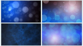 Four Blue Bokeh Backgrounds Stock Photo