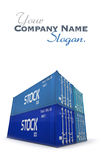 Four blue cargo containers Royalty Free Stock Photo