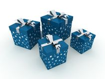 Four blue christmas box Royalty Free Stock Images
