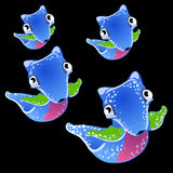 Four blue fictional fish on a black background. Set of four blue cute fictional fish on a black background Stock Images