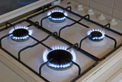Four blue gas flames Royalty Free Stock Image
