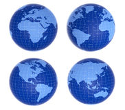 Four  blue globes showing different Royalty Free Stock Image