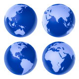 Four blue high-detailed earth Stock Image