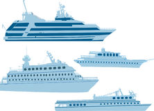Four blue modern small ships on white Royalty Free Stock Image