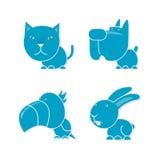 Four pets. Four blue pets, cat, dog, parrot and rabbit Stock Image