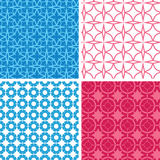 Four blue and red abstract geometric patterns and Stock Photo