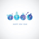 Four blue shades water color  circle with 2015. Four picturesque circles in blue shades with New Year's symbols and numbers Royalty Free Stock Photos
