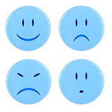 Four blue smileys Royalty Free Stock Photo