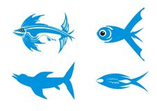Four blue symbols of fishes Royalty Free Stock Images