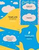 Four blue template for text with clouds vector illustration