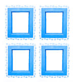 Four blue window frames. With floral pattern isolated on white Stock Image