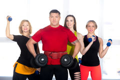 Four bodybuilders standing with dumbbells in gym Stock Image