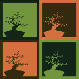 Four bonsai background - vector. Illustration of four bonsai, two-colored.EPS file available Stock Photo