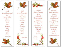 Four Bookmarks: Nature Drawings With Quotes. Four bookmarks with my freehand, color pencil drawings of leaves, berries, chestnuts, and birds, along with quotes Royalty Free Stock Photos
