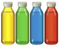 Four bottles in different colors. Illustration Stock Image