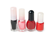 Four bottles with nail varnish Royalty Free Stock Images