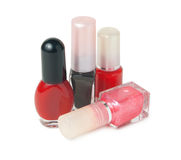 Four bottles with nail varnish Royalty Free Stock Photos