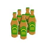 Four Bottles Of Staut Beer With Green Label, Oktoberfest Festival Drinks Bar Menu Item Stock Photos