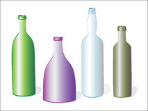 Four bottles on white Royalty Free Stock Photo