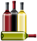 Four bottles of wine Stock Photos