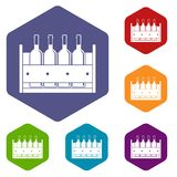 Four bottles of wine in a wooden box icons set Stock Photography