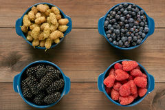 Four bowls with berries Stock Photos