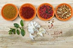 Four bowls with saffron, pepper, ras en  hanout, fresh mint and Stock Images