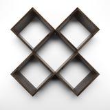 Four Box shelves on white wall Stock Photo
