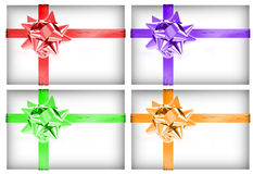 Four boxes with ribbon Royalty Free Stock Photo