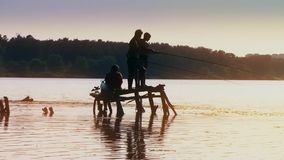 Four boys fisherman fishing fish on wooden pier in lake at sunset forest on background new unique quality joyful people stock video footage