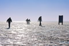Four boys making a careful walk on a frozen lake Stock Image