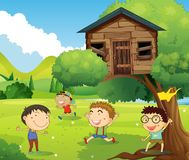 Four boys playing in treehouse. Illustration Royalty Free Stock Photos