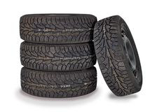 Four brand new winter tires Stock Photos