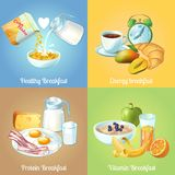 Four Breakfast Compositions Stock Photo