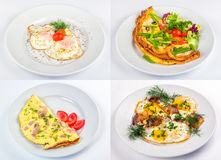 Four breakfast with fried egg and omelette Stock Photos