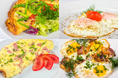 Four breakfast with fried egg and omelette Royalty Free Stock Images